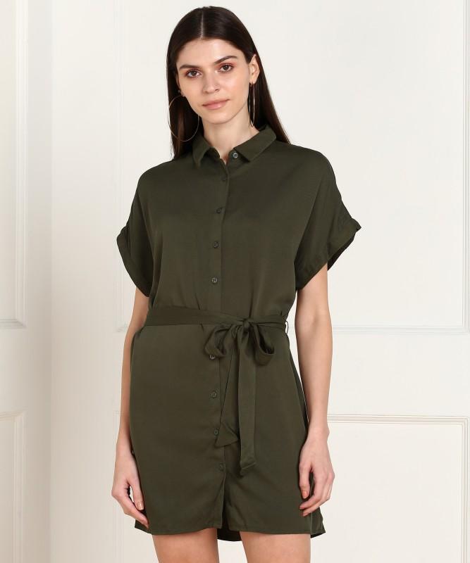Forever 21 Women Shirt Green Dress