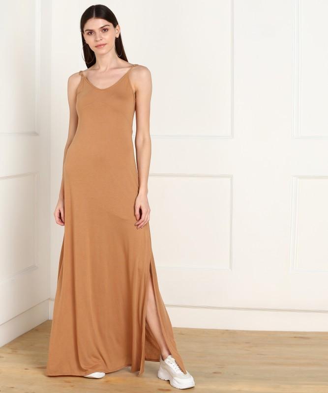 Forever 21 Women Maxi Orange Dress