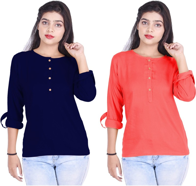 VESHBHUSHA Casual Roll-up Sleeve Solid Women Dark Blue, Red Top