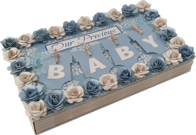 Crack of Dawn Crafts Baby Handmade Photo Album - Blue Keepsake(Blue)