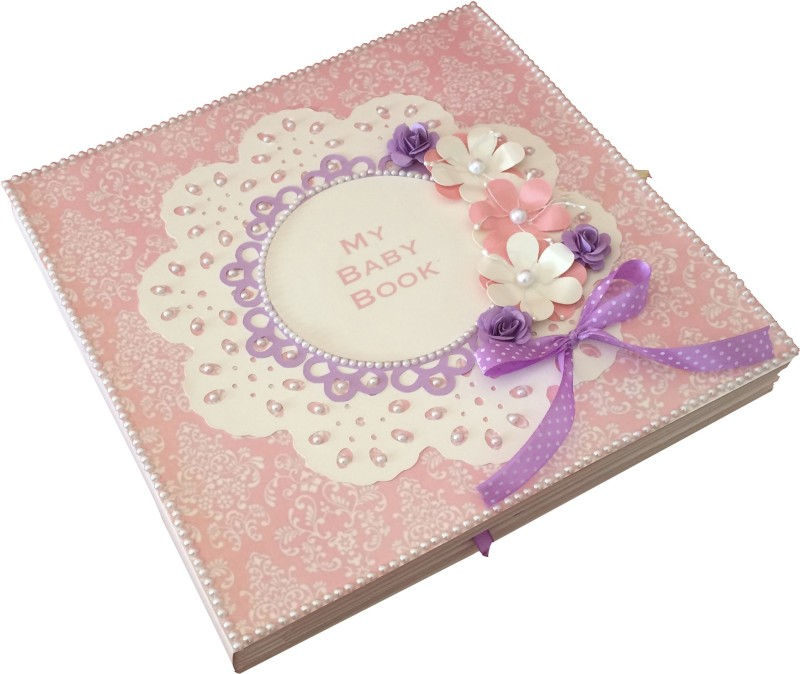 Crack of Dawn Crafts Baby Scrapbook Record Book/ Gift- 18 topics Keepsake(Pink and Lavender)