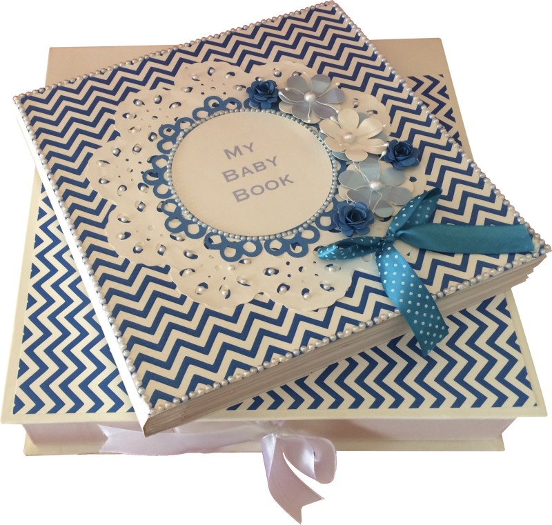 Crack of Dawn Crafts Baby Scrapbook Record Book/ Gift- 18 topics Keepsake(Blue)