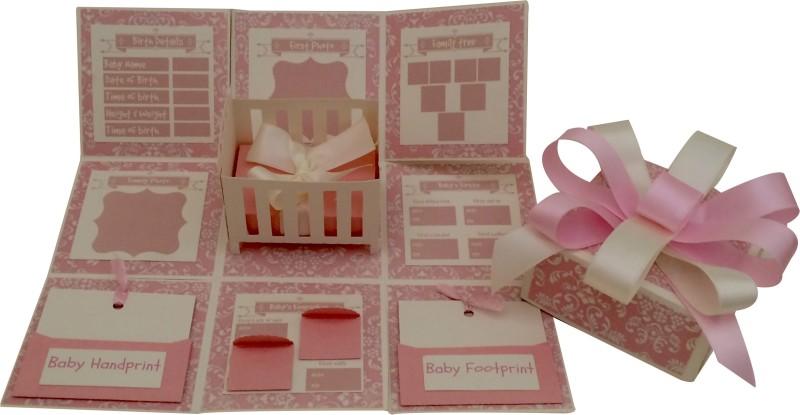 Crack of Dawn Crafts Baby Girl Explosion Box Keepsake(Pink)