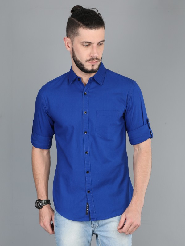 ASIAN & FITCH Men Solid Casual Blue Shirt