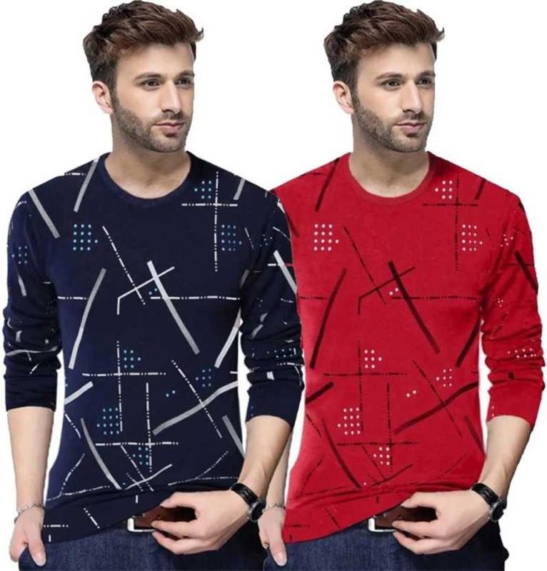 TRIPR Printed Men Round Neck Dark Blue, Red T-Shirt(Pack of 2)