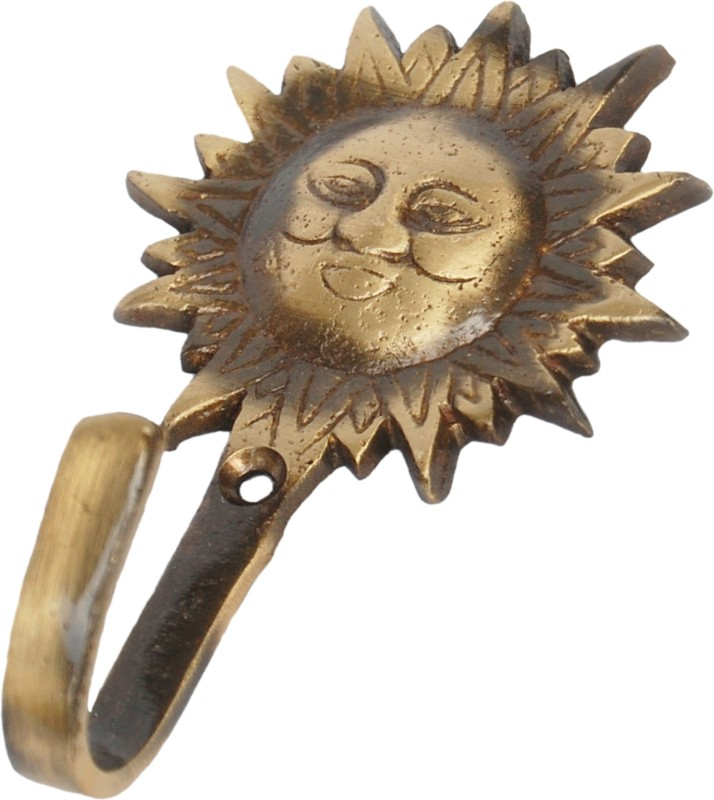 Aakrati Sun Face Hooks Unique For Gift Brass Key Holder(1 Hooks, Brown)