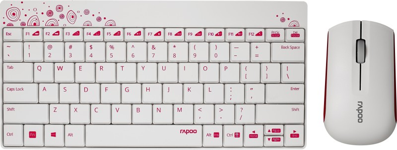 Rapoo 8000 Wireless Keyboard & mouse combo (White & Pink)(White)