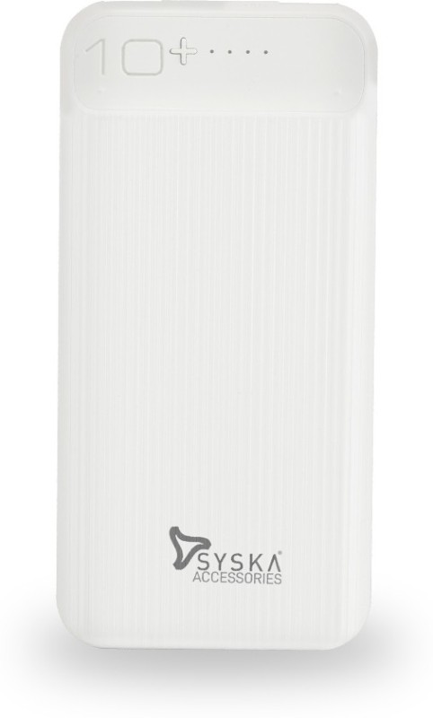 Syska 10000 mAh Power Bank (Fast Charging, 10 W)(White, Lithium Polymer)
