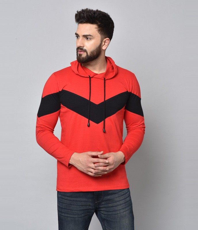 KAY DEE Color Block Men Hooded Neck Red T-Shirt