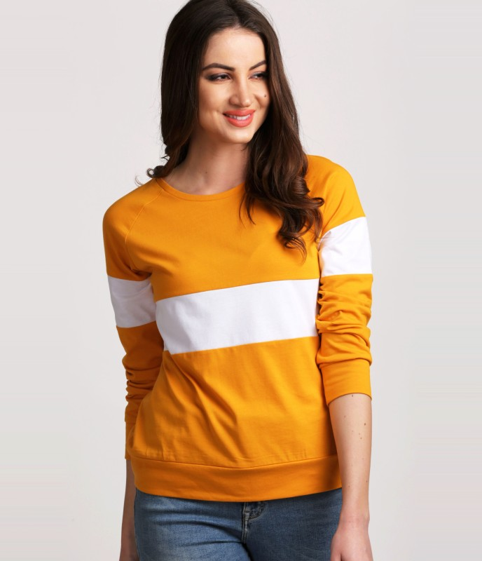 Aelomart Casual Regular Sleeve Color Block Women White, Orange Top