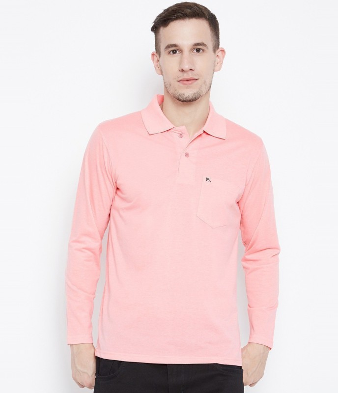 Camey Solid Men Polo Neck Reversible Pink T-Shirt