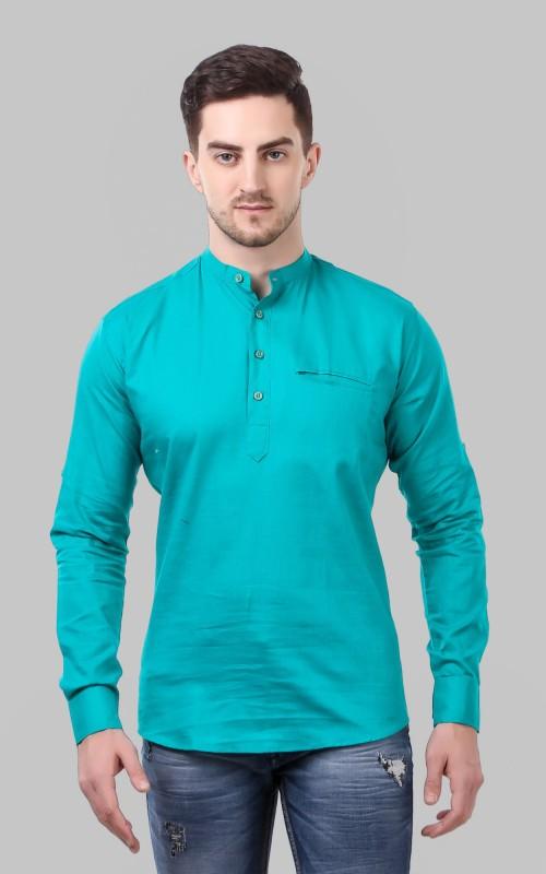 Tap in Men Self Design, Solid Straight Kurta(Green)