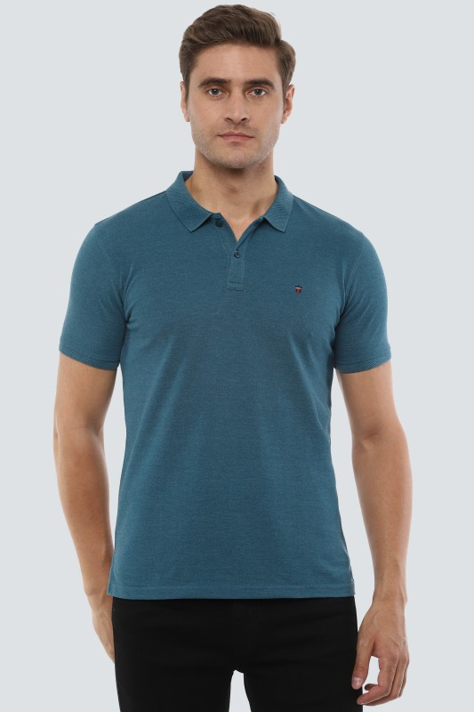 Louis Philippe Sport Solid Men Polo Neck Blue T-Shirt