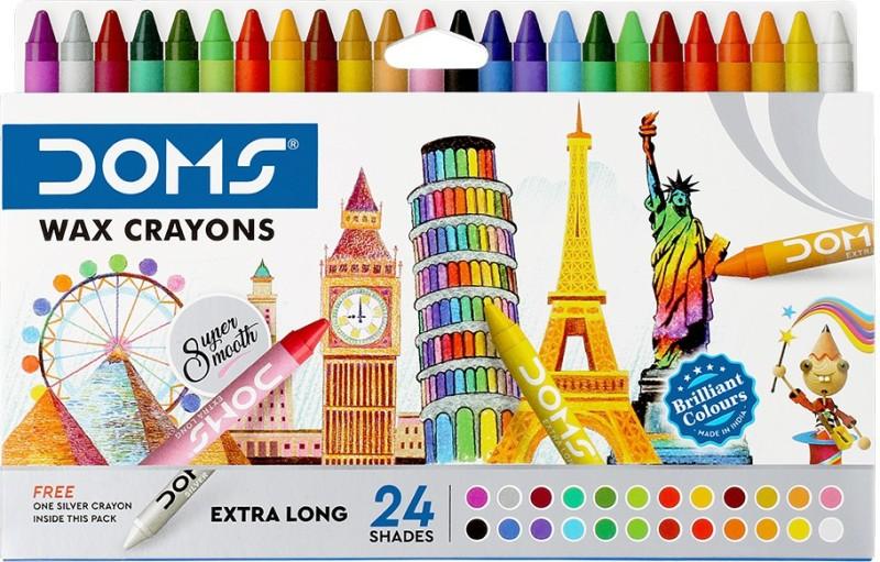 DOMS Long Wax Crayons 24 Shades(Set of 1, Multicolor)