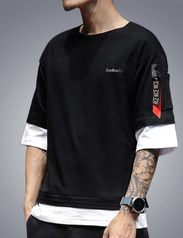 Seven Rocks Color Block Men Round Neck Black T-Shirt