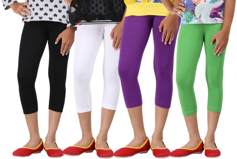 Greenwich Capri For Girls Casual Solid Cotton(Multicolor Pack of 4)