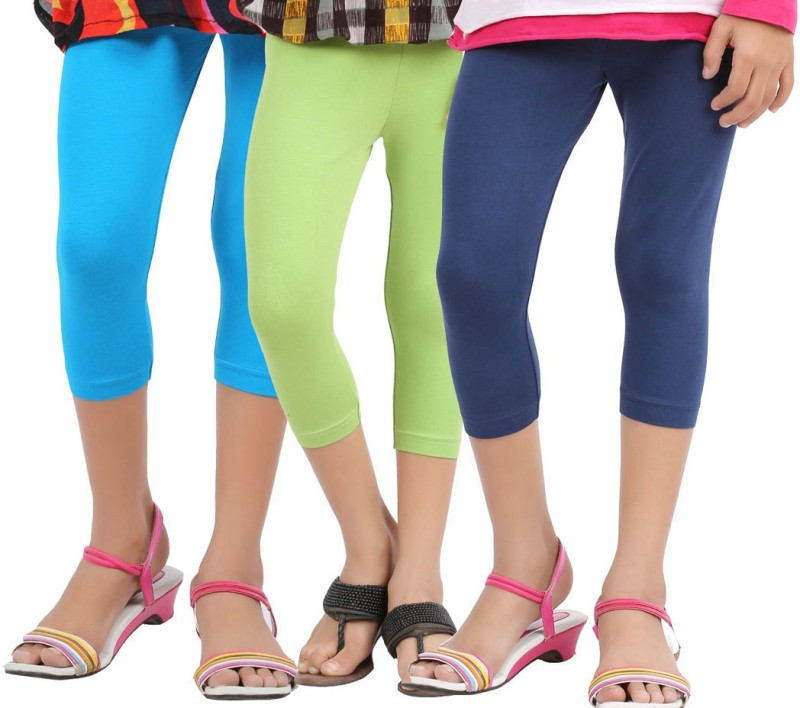 Greenwich Capri For Girls Casual Solid Cotton(Multicolor Pack of 3)