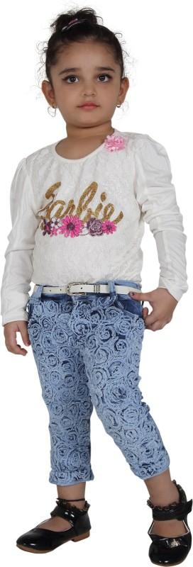 Naveens Capri For Girls Casual Self Design Cotton(Light Blue Pack of 1)