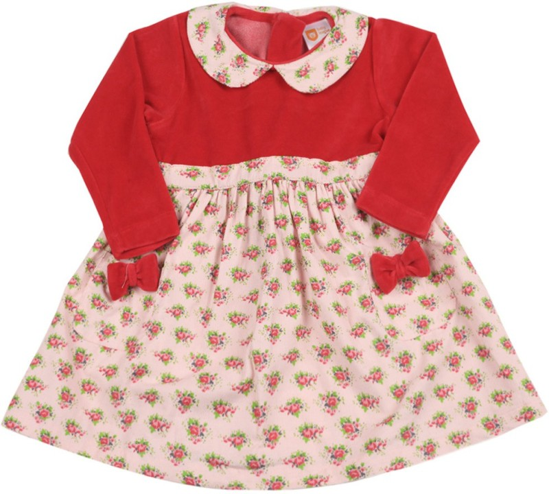 612 League Girls Midi/Knee Length Casual Dress(Red, Full Sleeve)