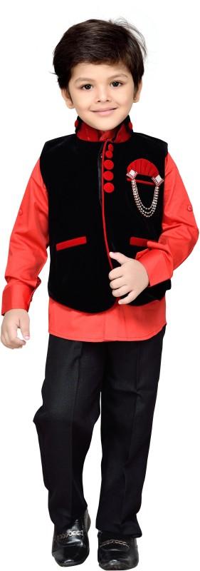 AJ Dezines Boys Festive & Party Shirt, Waistcoat and Pant Set(Black Pack of 1)
