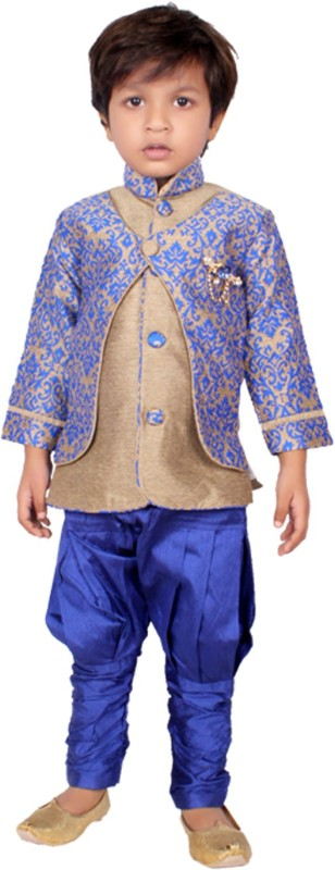 DELHIITE Boys Festive & Party, Wedding Sherwani and Churidar Set(Blue Pack of...