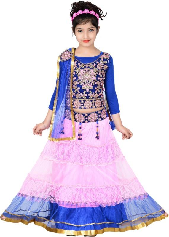 Sky Heights Girls Lehenga Choli Ethnic Wear Embroidered Lehenga Choli(Multicolor, Pack of...