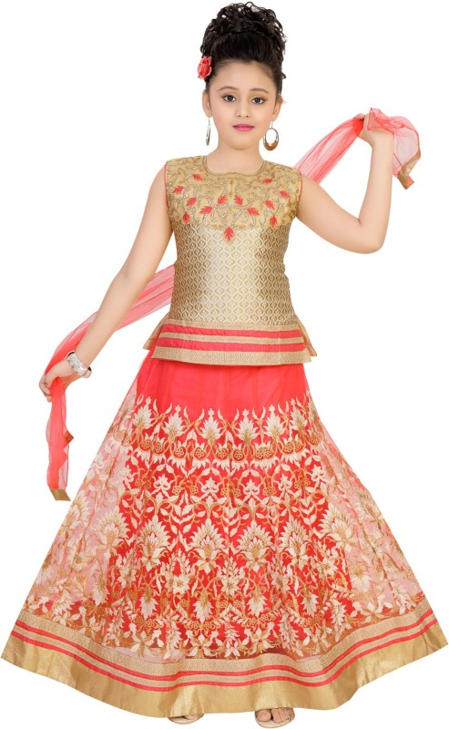 Saarah Girls Lehenga Choli Ethnic Wear Embroidered Lehenga, Choli and Dupatta Set(Red,...