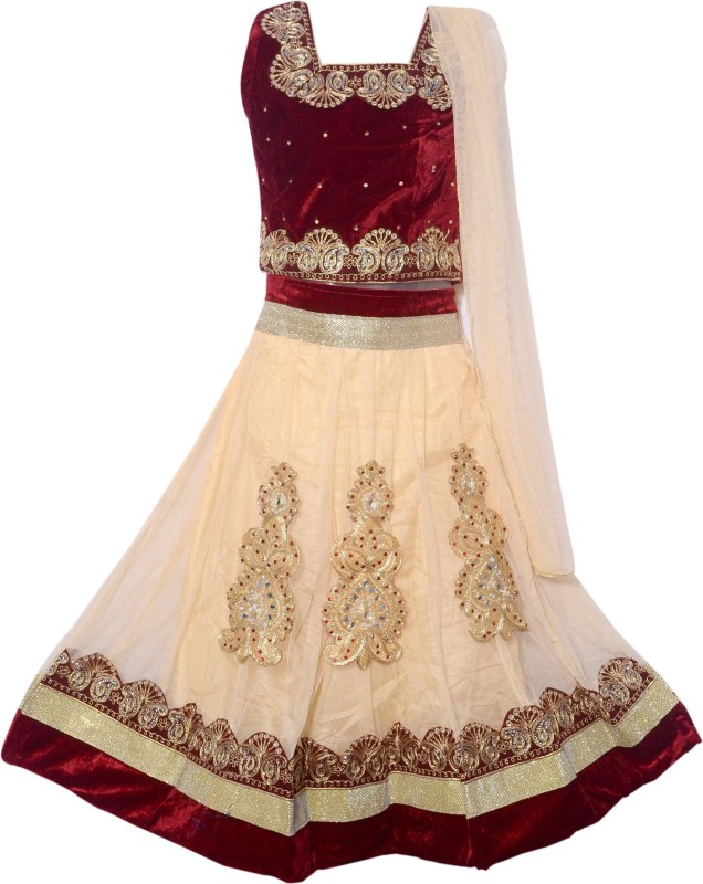 Sky Heights Girls Lehenga Choli Ethnic Wear Embroidered Lehenga Choli(Multicolor, Pack of...