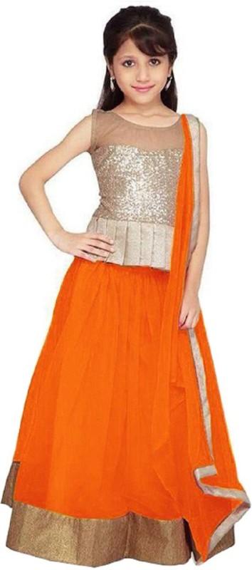 Active Girls Lehenga Choli Ethnic Wear Solid Lehenga Choli(Orange, Pack of 1)