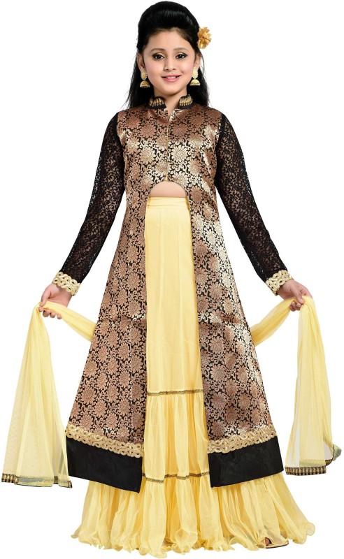 Aarika Girls Lehenga Choli Ethnic Wear Self Design Lehenga, Choli and Dupatta Set(Black, Pack of 1)
