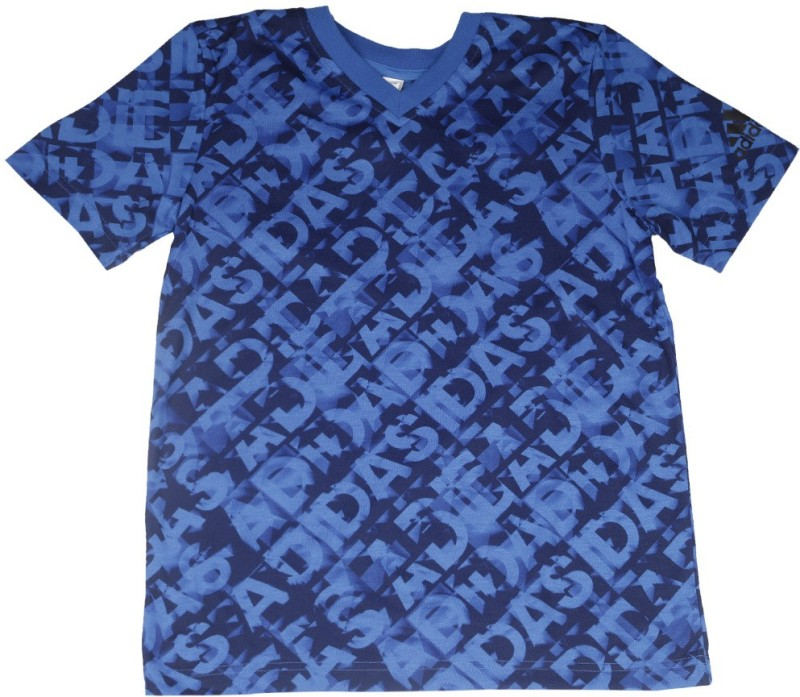 Adidas Boys Printed Polyester T Shirt(Dark Blue, Pack of 1)