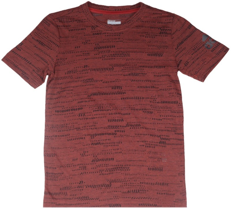 Adidas Boys Self Design Cotton Polyester Blend T Shirt(Brown, Pack of 1)