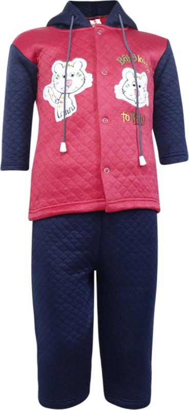 Red Roses Top - Pyjama Set For Boys(Pink, Pack of 2)