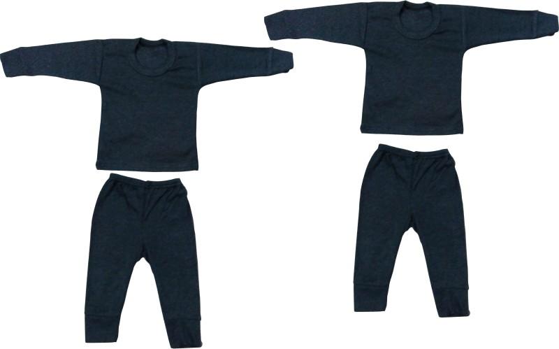 Diligence Top - Pyjama Set For Boys & Girls(Black, Pack of 2)