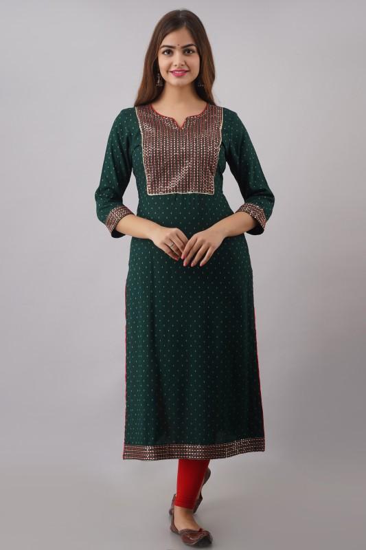 FASHION DEPTH Women Printed Straight Kurta(Dark Green)