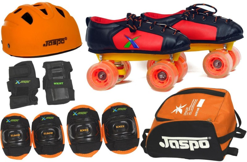 Jaspo Velocity ProShoe Skates Combo Foot length 24.5 cms Size : 5 UK ( Age group 11-12 years) Skating Kit