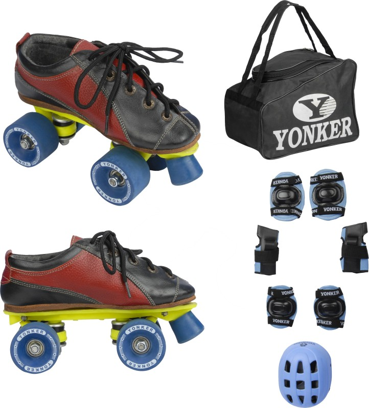 Yonker Shoe Skates No.11 + 4in1 Protection (Helmet+Knee Guard+Elbow Gurard+Wrist Gurad+Bag) Skating Kit