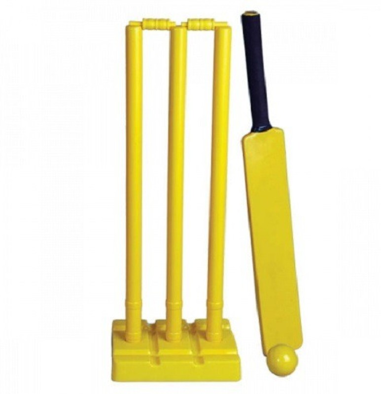Sports Solutions Plastic Set of 3 Stumps 2 Bails 1 Base & 1 Cricket Bat for adults size 6 for cricket lovers Cricket Kit