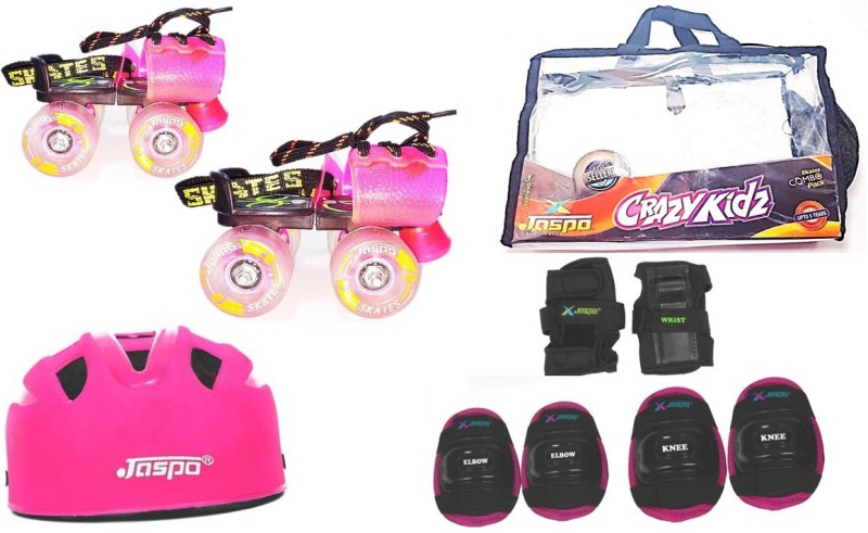 Jaspo CRAZY KID PINK junior Skates Combo (skates+helmet+knee+elbow+wrist+bag)suitable for age upto 5 years Skating Kit