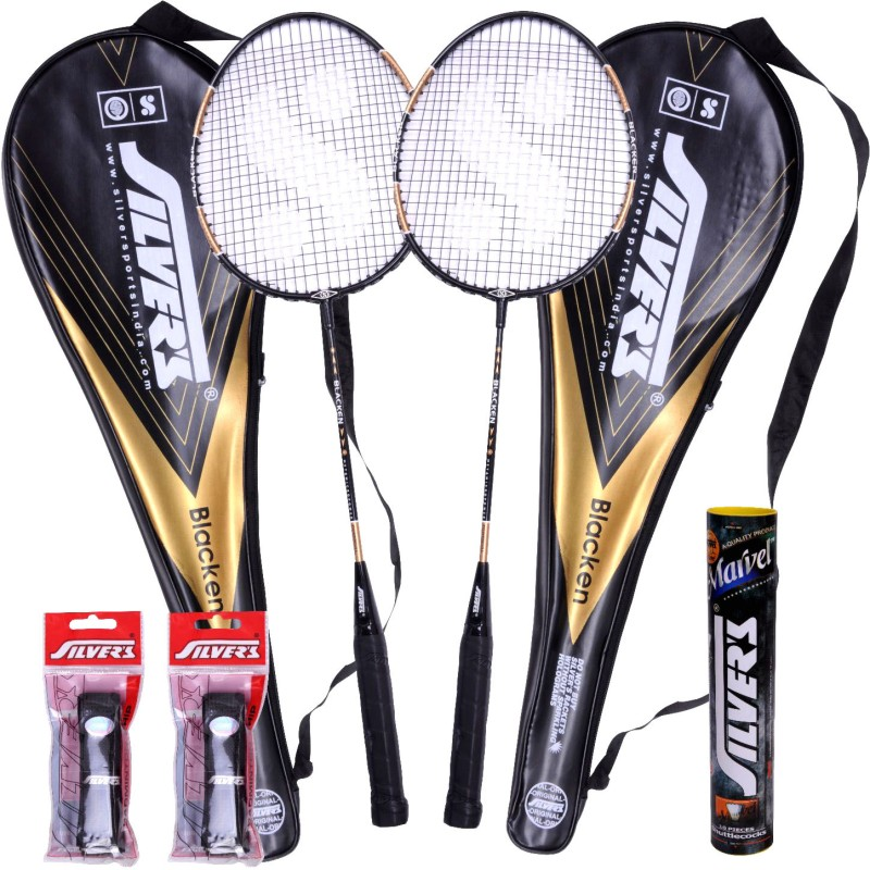Silver's Blacken Badminton Kit(2 Racquets with Cover, 1 Box Shuttlecock and 2 PVC Grips)