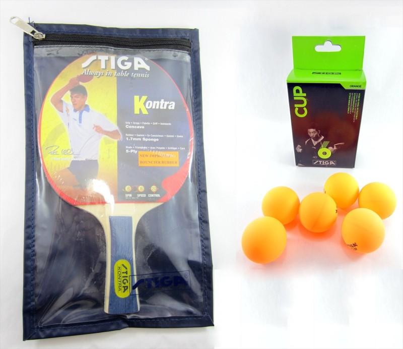 Stiga Kontra TT Racquet, Cover & Cup Balls(6) Combo Kit Table Tennis Kit