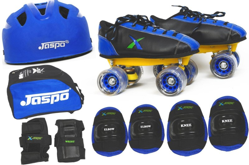 Jaspo Waves Pro Shoe Skates Combo Foot length 24.5 cms Size : 5 UK ( Age group 11-12 years) Skating Kit