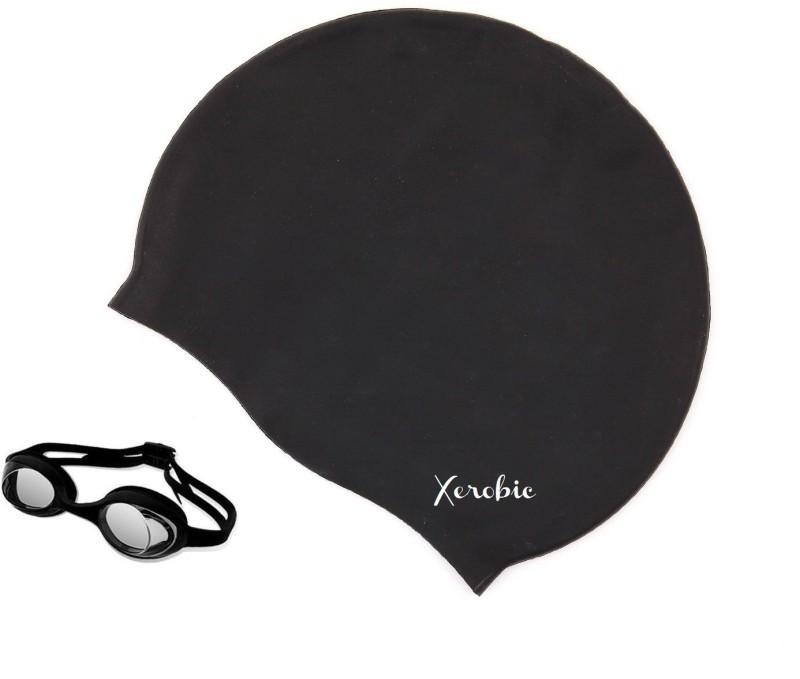 Xerobic Set of Swimming Cap & Goggles for Men & Women Anti Fog Swimming Kit