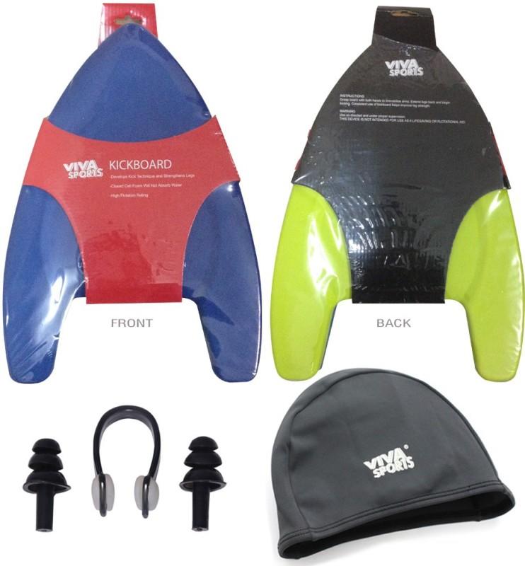 Viva Sports Kickboard-Plugs-Lycra Cap Swimming Kit