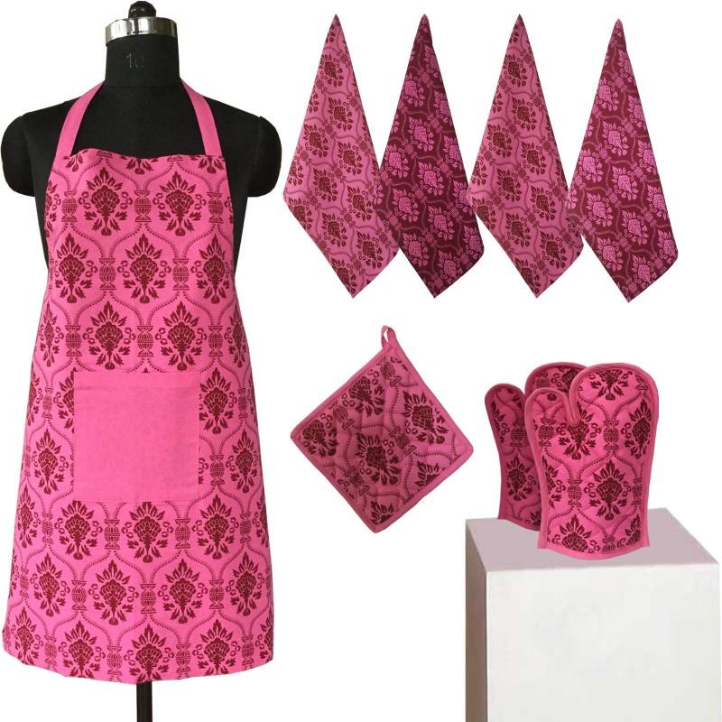 Lushomes Purple Cotton Kitchen Linen Set(Pack of 8)