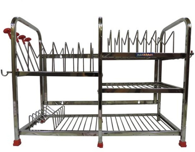 Maharaja Smart Modern For Dishes-Plates-Glass-Crockery Stainless Steel Kitchen Rack(Silver)