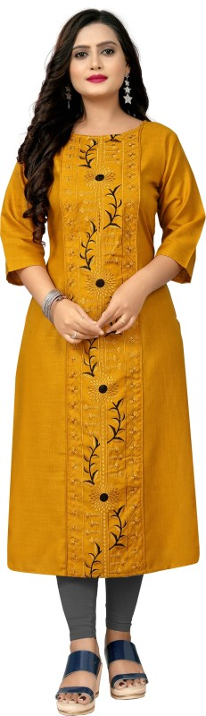 Hetsa Women Embroidered Straight Kurta(Yellow)