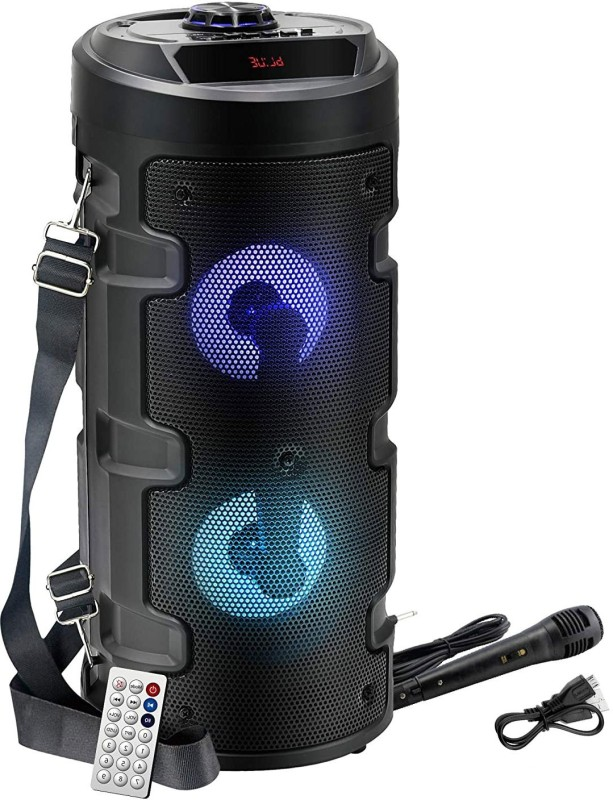 Techobucks High quality Wireless Bluetooth Super Bass Portable Party Speaker with RGB Lights, Wired Mic, Remote Control, FM Radio & Aux in/USB/TF Card Reader Input 20 W Bluetooth PA Speaker(Black, Stereo Channel)