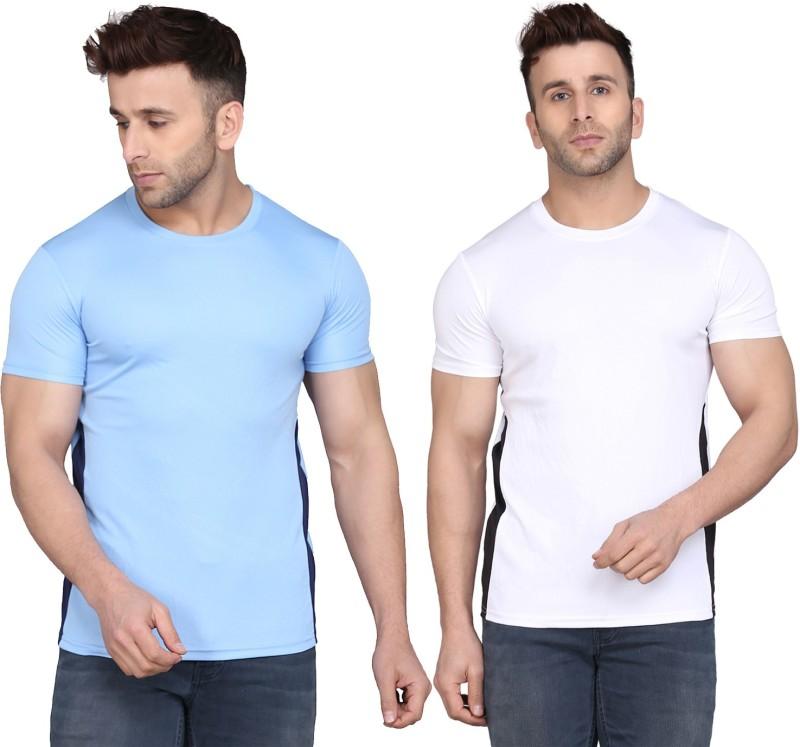 TQH Solid Men Round Neck White, Light Blue T-Shirt(Pack of 2)