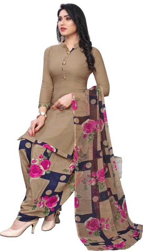 SAARA Crepe Floral Print, Geometric Print, Printed Salwar Suit Material(Unstitched)